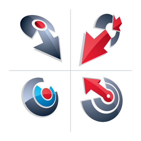 Three-dimensional graphic elements collection with simple arrows, business development and technology innovation theme vector icons. Company growth concept, set of 3d abstract symbols.