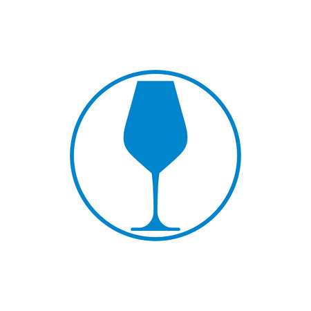 bocal: Winery theme, classic wine goblet isolated on white. Wine degustation conceptual symbol, design element.