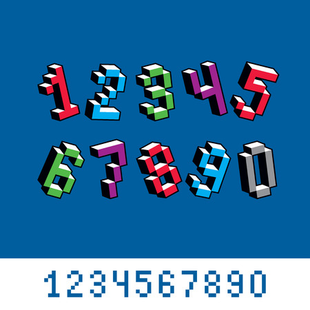 numeration: Cybernetic 3d numbers, pixel art vector numeration. Pixel design elements, contemporary dotted digits made in technology style.