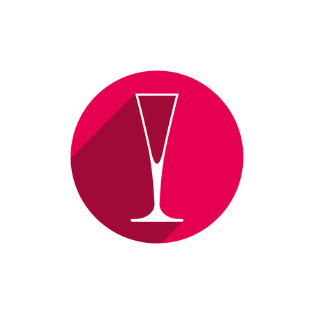Lifestyle idea conceptual symbol, classic champagne glass isolated on white. Alcohol design element can be used in advertising.