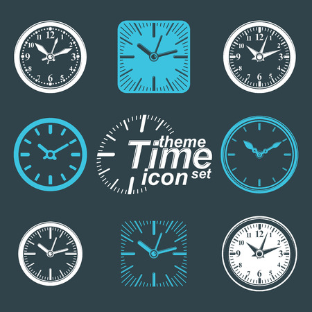 interim: Simple vector wall clocks with stylized clockwise. Business time idea classic graphic symbols collection. Time management conceptual elegant symbols. Web design elements.