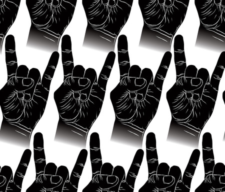 Rock Hands Seamless Pattern Metal And Roll Music Style Vector Background