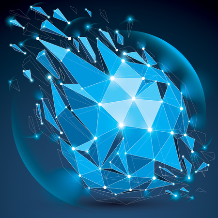 Perspective digital technology shattered shape with black lines and dots connected, polygonal wireframe blue object with lens circles. Explosion effect, abstract facet element cracked into fragments.
