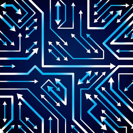 multidirectional: Vector electronic pattern with microchip scheme with multidirectional arrows, luminescent circuit board, high tech futuristic background. Digital connections, flash effect.