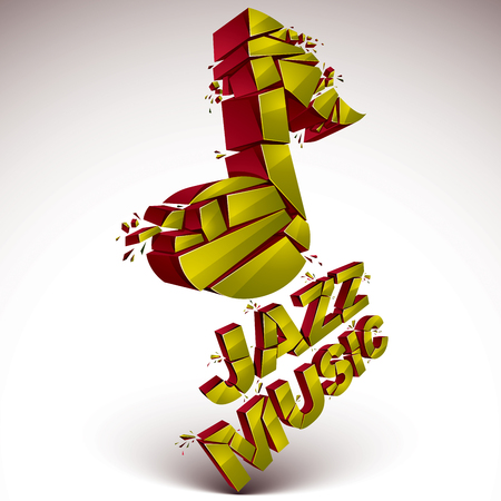 Yellow 3d vector musical note created from refractions isolated on white. Three-dimensional transform music theme design element. Jazz music theme.