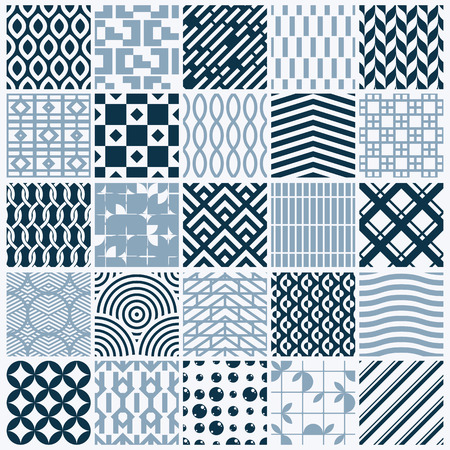 interlace: Vector graphic vintage textures created with squares, rhombuses and other geometric shapes. Monochrome seamless patterns collection best for use in textiles design.