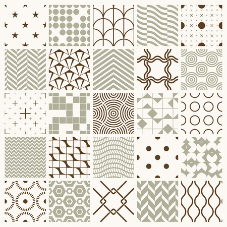 different figures: Set of vector endless geometric patterns composed with different figures like rhombuses, squares and circles. 25 graphic tiles with ornamental texture can be used in textile and design. Illustration