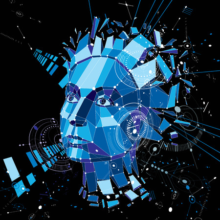 Artificial intelligence head, low poly style 3d vector wireframe object broken into different particles. Modernistic background can be used in projects on subject of human mind and consciousness.