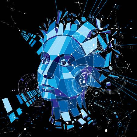 Tête de l'intelligence artificielle, style bas poly 3d vecteur objet wireframe cassé en particules différentes. fond Modernistic peut être utilisé dans des projets sur le sujet de l'esprit humain et la conscience. Banque d'images - 62131204