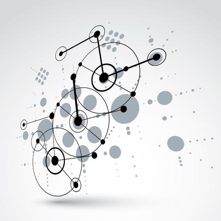 perspectiva lineal: 3d vector de Bauhaus monocromo fondo abstracto hecho con rejilla y superpuestas geométricas simples elementos, círculos y líneas. las ilustraciones del estilo retro, plantilla gráfica para el cartel de publicidad.