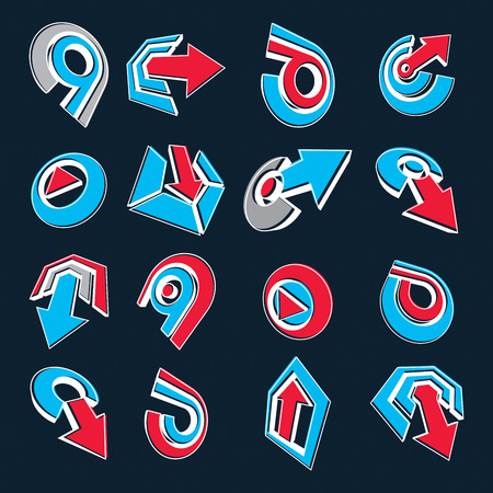 navigation pictogram: Geometric abstract blue and red vector shapes. Collection of arrows, navigation pictograms and multimedia signs, for use in web and graphic design. Illustration