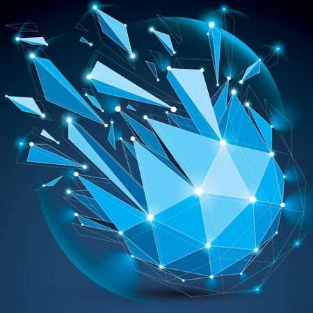 3d vector low poly spherical object with sparkles, white connected lines and dots, geometric wireframe blue shape with refractions. Radiance perspective colorful shattered form. Illustration