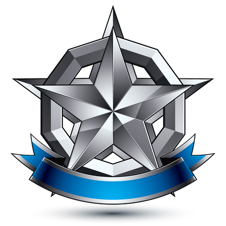 is magnificent: Heraldic 3d glossy blue and gray icon - can be used in web and graphic design, five-pointed silver star placed over rounded magnificent element with elegant ribbon, clear EPS 8 vector. Illustration