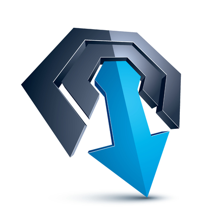 Three-dimensional graphic element with simple arrow, business development and technology innovation theme vector icon. Company growth concept, 3d abstract symbol.