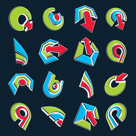 six objects: Vector multimedia signs collection isolated on black background. 3d colorful abstract design elements, can be used in web and graphic design and as marketing symbols.