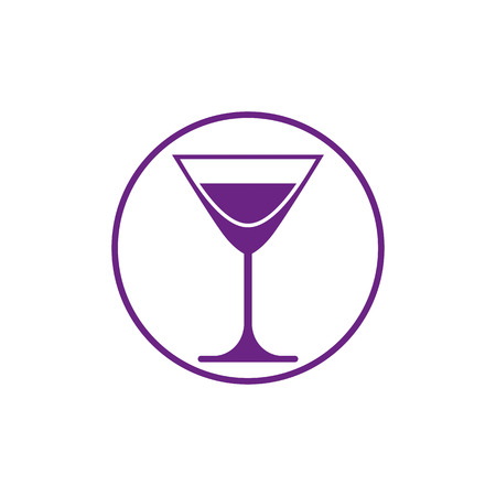 sophisticate: Alcohol beverage theme icon, classic martini glass placed in circle. Colorful restaurants and cafes brand emblem. Illustration