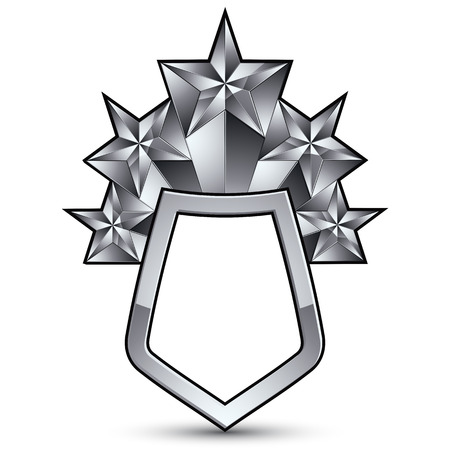 3d heraldic vector template with five pentagonal silver stars, complicated dimensional royal geometric medallion isolated on white background.