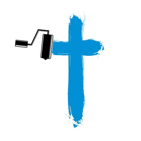 Religious cross vector simple illustration created with smudge brushstrokes. Spiritual symbol, art drawing of crucifix. Illustration