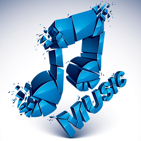 crotchets: 3d vector blue shattered musical notes with music word. Art melody transform symbol broken into pieces. Illustration