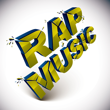 Dimensional shattered vector rap music word, contemporary musical style design element in explosion effect. 3d wrecked letters. Illustration