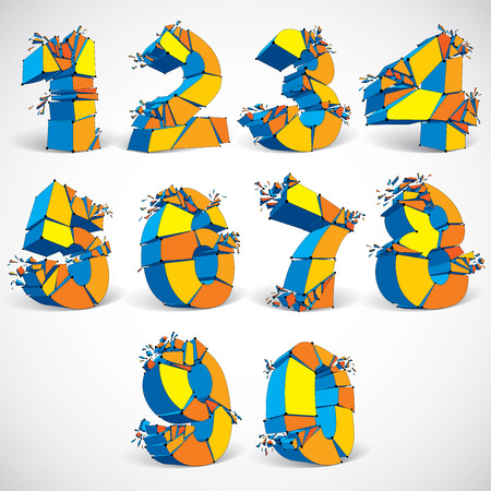 numbers abstract: Set of abstract 3d faceted colorful numbers with connected black lines and dots. Vector low poly shattered mathematics design elements with fragments and particles. Explosion effect.
