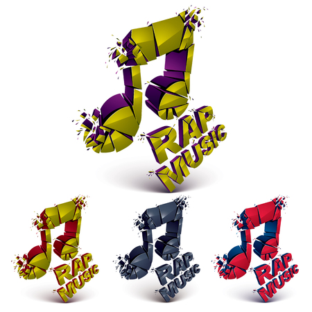 Set of 3d colorful vector shattered musical notes with specks and refractions. Dimensional facet design music demolished symbols collection. Rap music theme.
