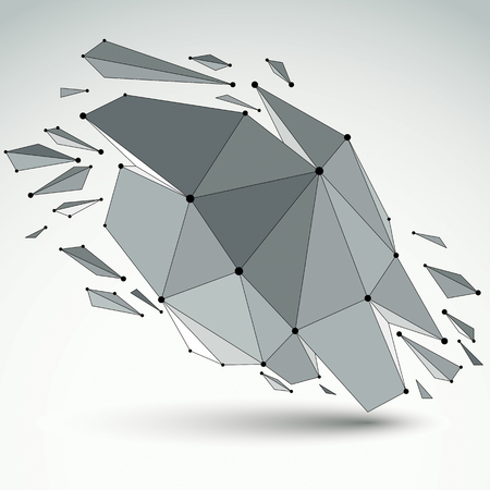 3d vector digital wireframe object broken into different particles and refractions, geometric polygonal structure with lines mesh. Low poly shattered shape, lattice form.
