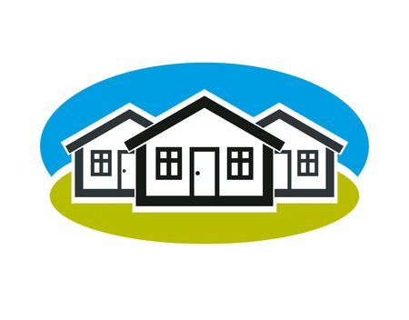 District vector conceptual illustration, three simple houses. Houses art picture, real estate theme. Abstract image, best for use in advertising, estate and construction business.