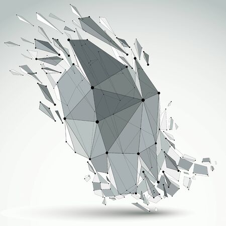 Vector dimensional wireframe object, demolished shape with refractions and wreckage. 3d mesh technology element broken into pieces.