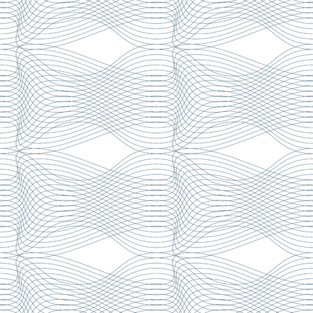 splice: Black and white vector endless pattern created with thin undulate stripes, seamless netting composition. Continuous interlace texture can be used as website background and as wrapping paper.