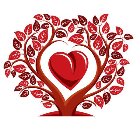 Ilustración del vector del árbol con ramas en forma de corazón con una imagen idea de la maternidad en el interior de la manzana, el amor y. Árbol de la vida Tema ilustración.