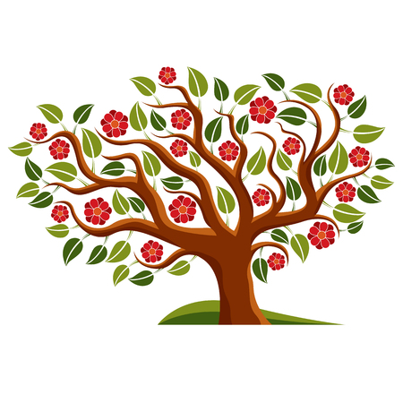 Vector illustration of spring branchy tree with beautiful blossom. Gorgeous flowers, blooming tree isolated on white background. Illustration