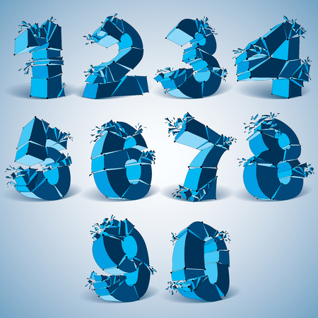 numeration: Set of 3d vector digital wireframe blue numbers from 0 to 9 broken into different particles, geometric polygonal numeration with lines mesh. Low poly shattered typescript, lattice elements.
