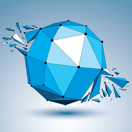 shattered: Abstract 3d faceted blue figure with connected black lines and dots. Vector low poly shattered design element with fragments and particles. Explosion effect. Illustration