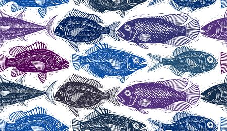 sea bream: Freshwater vector fish endless pattern, art nature and marine theme seamless tiling. Seafood wallpaper, zoology idea background.