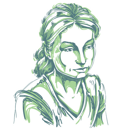 goodlooking: Vector portrait of sad attractive woman, illustration of good-looking sorrowful female. Person emotional face expression. Illustration