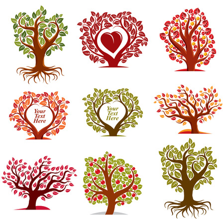 fruitful: Vector stylized nature symbols with red heart, art fruity trees collection. Gardening idea design elements, fruitfulness theme. Empty copy space, you are free to write your text here.