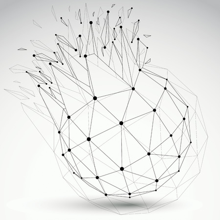 wreckage: Vector dimensional wireframe object, spherical demolished shape with refractions and wreckage. 3d mesh technology element broken into pieces.