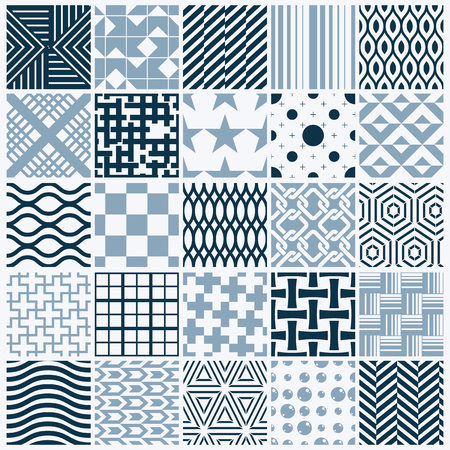 different figures: Set of vector endless geometric patterns composed with different figures like rhombuses, squares and circles. Graphic ornamental tiles made in black and white colors.