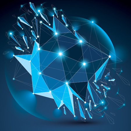 3d vector digital wireframe blue object broken into different particles, geometric polygonal structure with lines mesh and light effect. Low poly shattered glow shape, sparkle lattice form.