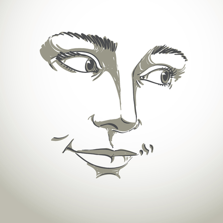features: Portrait of delicate good-looking dreamy still woman, black and white vector drawing. Emotional expressions idea image, face features. Illustration