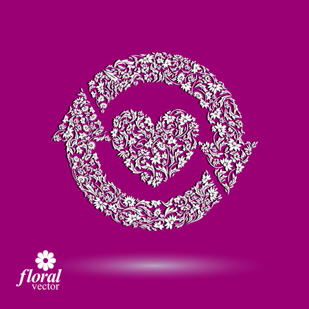 relations: Loving heart floral illustration with update arrows, beautiful romantic icon. Valentine?s Day theme ? loving relations symbol.