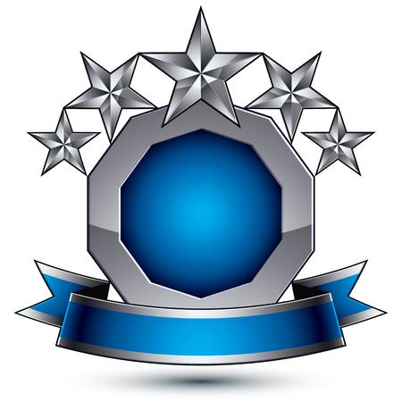 estrellas cinco puntas: Heráldica 3d azul brillante y el icono de color gris - se pueden usar en diseño web y gráfico, estrellas de cinco puntas de plata colocados sobre magnífica elemento redondeado con la cinta elegante, EPS 8 vector claras.