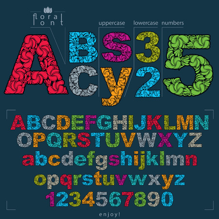 typescript: Set of vector ornate letters and numbers, flower-patterned typescript. Colorful characters created using herbal texture.