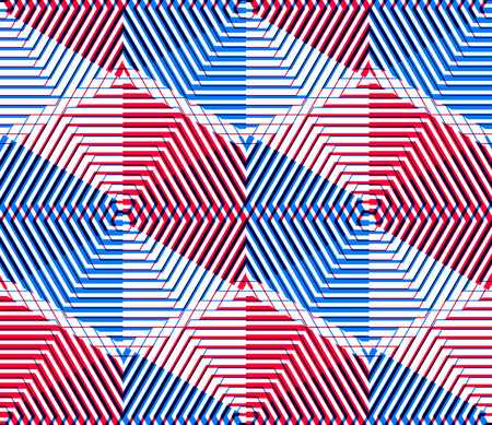splice: Illusive continuous colorful pattern, decorative abstract background with 3d geometric figures. Bright transparent ornamental seamless backdrop, can be used for design and textile.