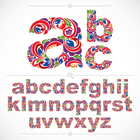 flowery: Ecology style flowery font, vector typeset made using natural ornament. Colorful alphabet lowercase letters created with spring leaves and floral design.