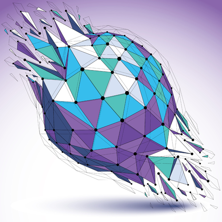 Abstract vector low poly wrecked object with black lines and dots connected. 3d origami futuristic spherical form with lines mesh. Digital technology network element. Illustration