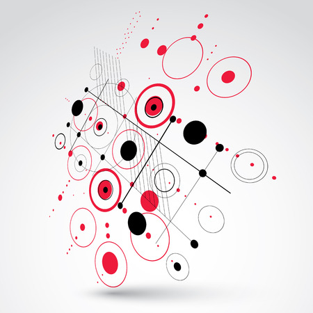 avant garde: Modular Bauhaus 3d vector red background, created from simple geometric figures like circles and lines. Best for use as advertising poster or banner design. Illustration