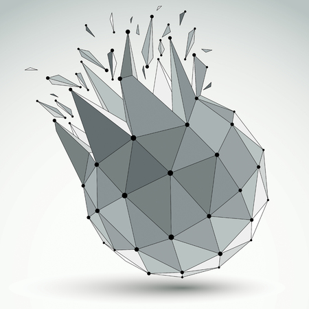 Abstract vector low poly wrecked object with black lines and dots connected. 3d origami futuristic spherical form with lines mesh. Illustration