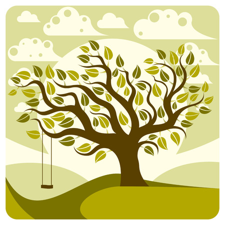 peaceful scene: Vector branchy tree with swing on beautiful cloudy spring landscape.  Idyllic and peaceful scene, insight vector image.